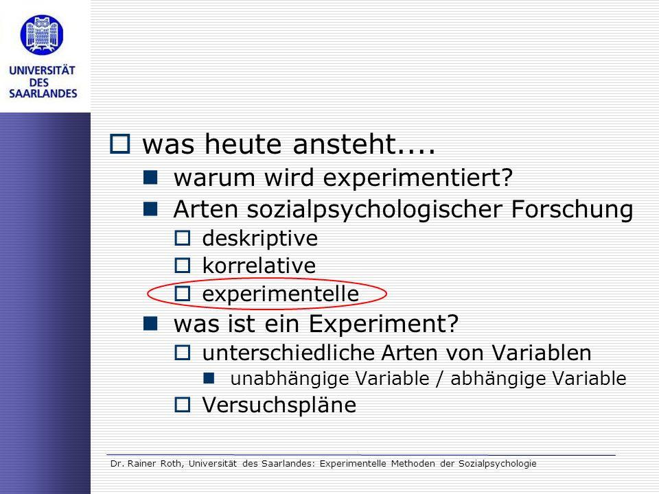 Dr. Rainer Roth, Universität des Saarlandes: Experimentelle Methoden der Sozialpsychologie was heute ansteht.... warum wird experimentiert? Arten sozi