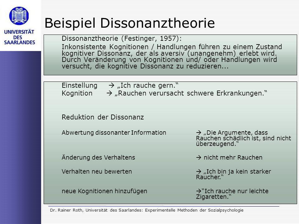 Dr. Rainer Roth, Universität des Saarlandes: Experimentelle Methoden der Sozialpsychologie Beispiel Dissonanztheorie Dissonanztheorie (Festinger, 1957