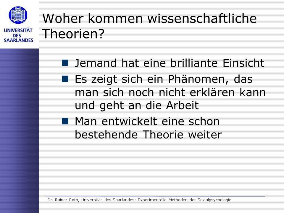 Dr. Rainer Roth, Universität des Saarlandes: Experimentelle Methoden der Sozialpsychologie Woher kommen wissenschaftliche Theorien? Jemand hat eine br