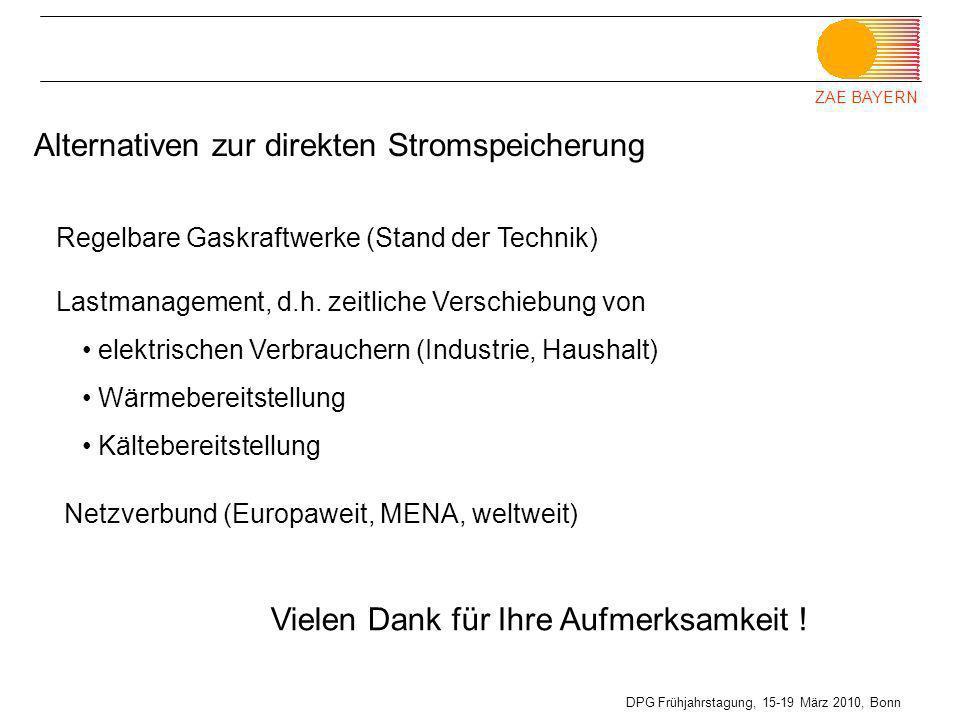 ZAE BAYERN DPG Frühjahrstagung, 15-19 März 2010, Bonn Regelbare Gaskraftwerke (Stand der Technik) Alternativen zur direkten Stromspeicherung Lastmanag