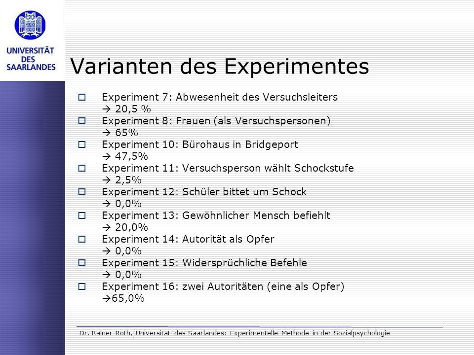 Dr. Rainer Roth, Universität des Saarlandes: Experimentelle Methode in der Sozialpsychologie Varianten des Experimentes Experiment 7: Abwesenheit des