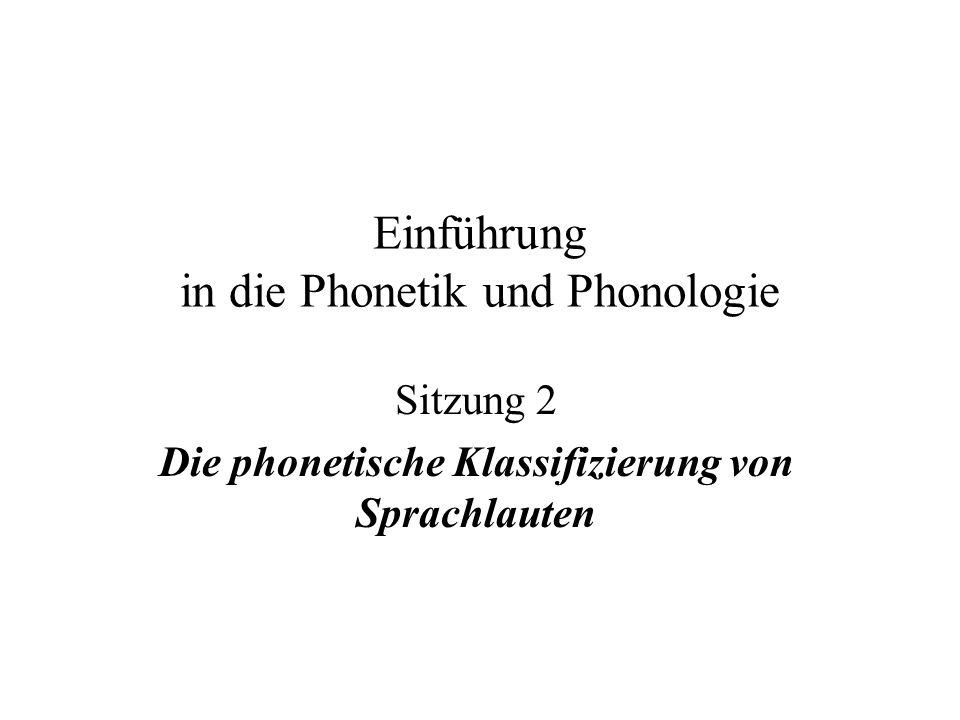 Einführung in die Phonetik und Phonologie Sitzung 2 Die phonetische Klassifizierung von Sprachlauten