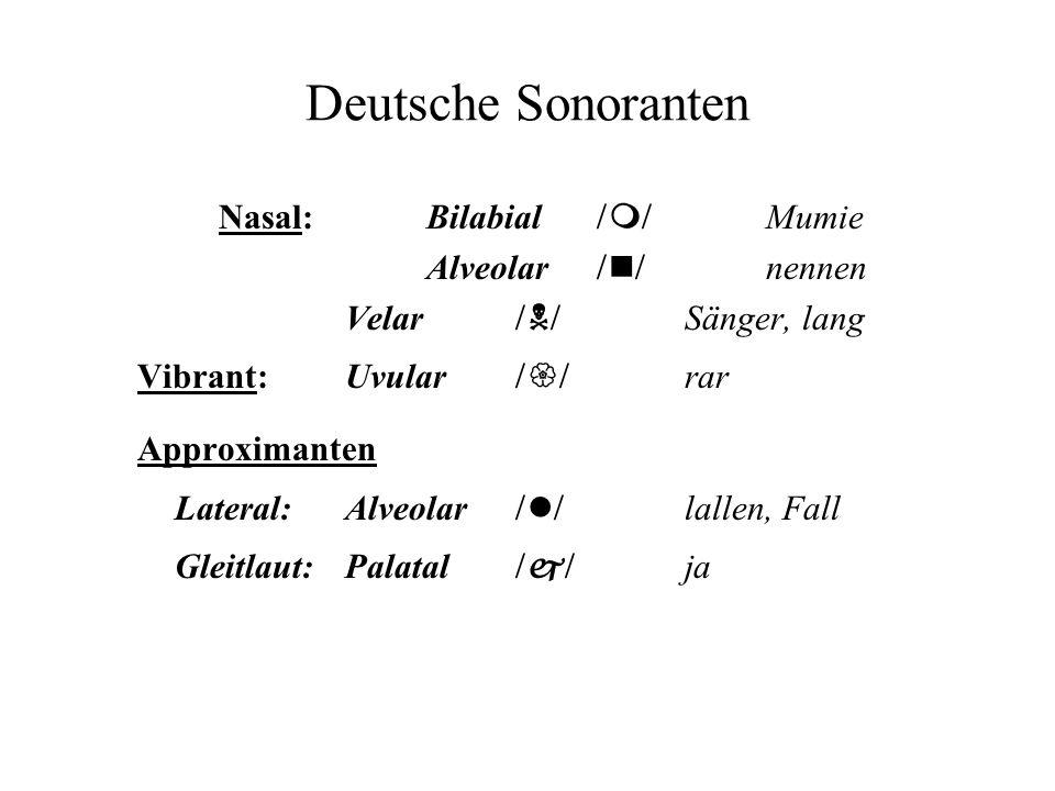 Deutsche Sonoranten Nasal:Bilabial m Mumie Alveolar n nennen Velar N Sänger, lang Vibrant: Uvular rar Approximanten Lateral: Alveolar l lallen, Fall Gleitlaut: Palatal j ja