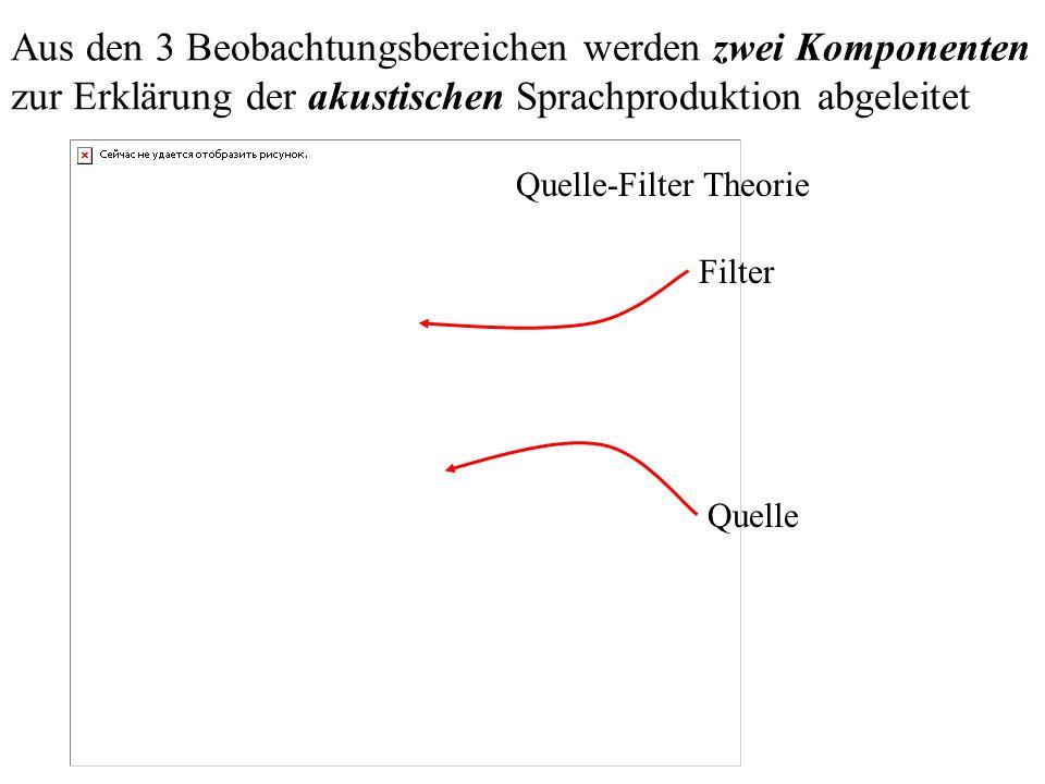 Aus den 3 Beobachtungsbereichen werden zwei Komponenten zur Erklärung der akustischen Sprachproduktion abgeleitet Quelle Filter Quelle-Filter Theorie