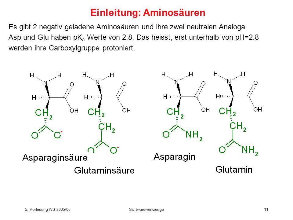 5. Vorlesung WS 2005/06Softwarewerkzeuge11 Es gibt 2 negativ geladene Aminosäuren und ihre zwei neutralen Analoga. Asp und Glu haben pK a Werte von 2.
