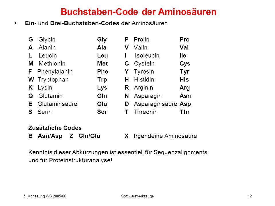 5. Vorlesung WS 2005/06Softwarewerkzeuge12 Ein- und Drei-Buchstaben-Codes der Aminosäuren G GlycinGlyP ProlinPro A AlaninAlaV ValinVal L LeucinLeuI Is
