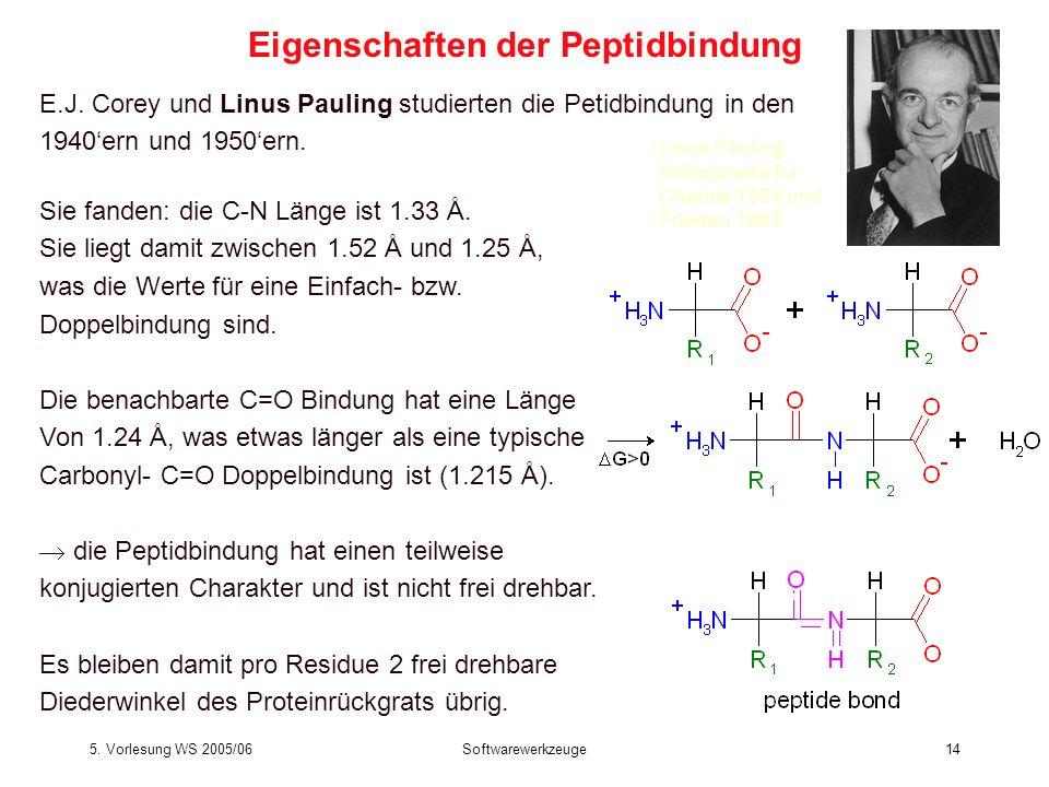 5. Vorlesung WS 2005/06Softwarewerkzeuge14 E.J. Corey und Linus Pauling studierten die Petidbindung in den 1940ern und 1950ern. Sie fanden: die C-N Lä
