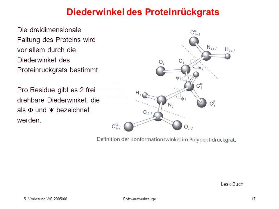 5. Vorlesung WS 2005/06Softwarewerkzeuge17 Diederwinkel des Proteinrückgrats Lesk-Buch Die dreidimensionale Faltung des Proteins wird vor allem durch