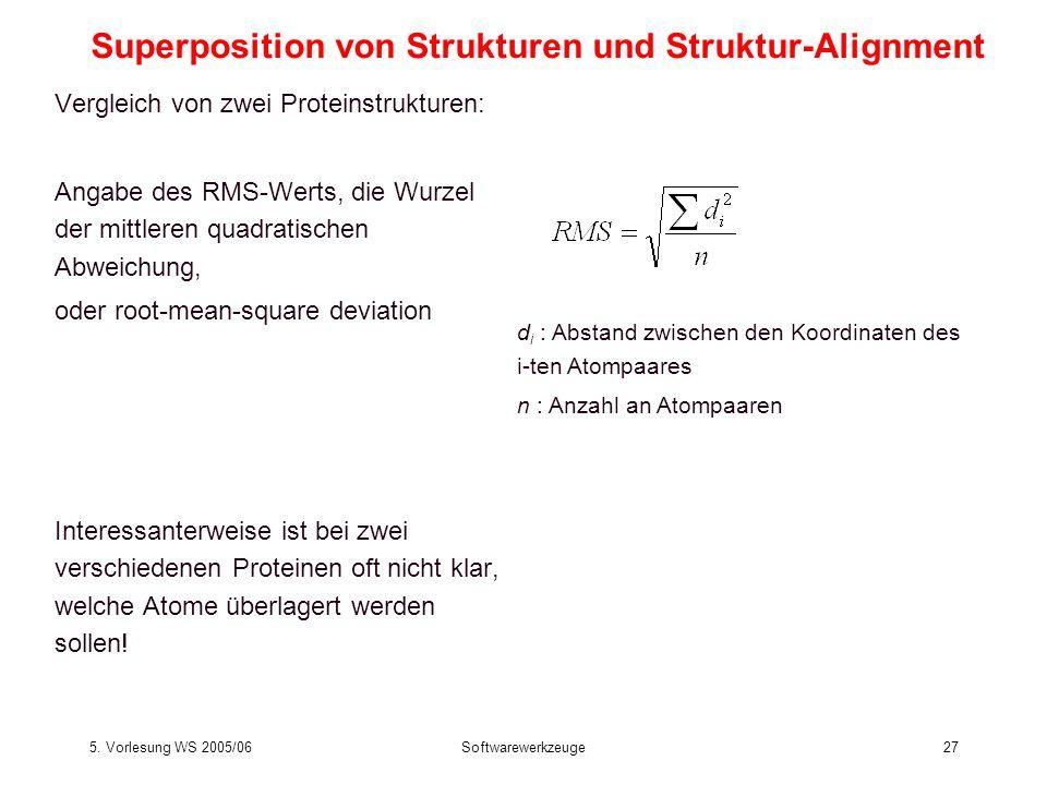 5. Vorlesung WS 2005/06Softwarewerkzeuge27 Vergleich von zwei Proteinstrukturen: Angabe des RMS-Werts, die Wurzel der mittleren quadratischen Abweichu
