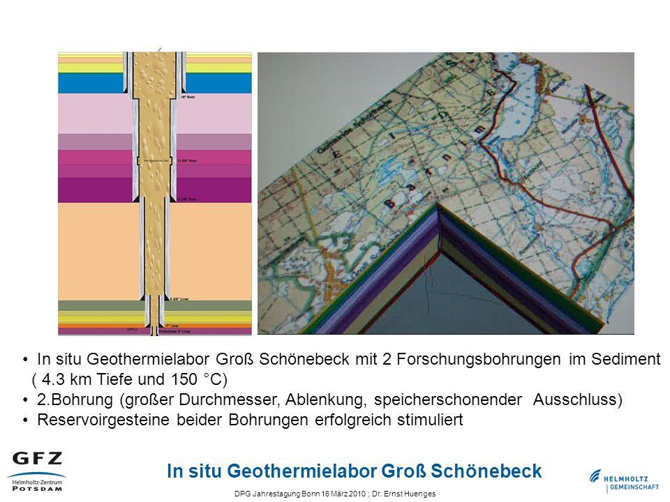 DPG Jahrestagung Bonn 16 März 2010 ; Dr. Ernst Huenges In situ Geothermielabor Groß Schönebeck In situ Geothermielabor Groß Schönebeck mit 2 Forschung