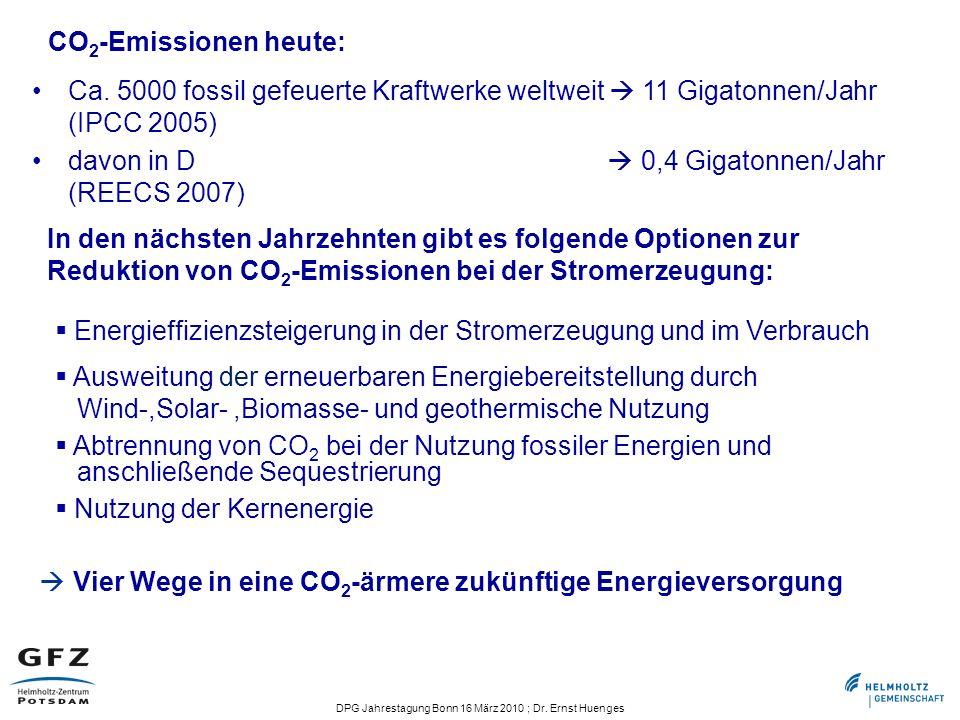 DPG Jahrestagung Bonn 16 März 2010 ; Dr. Ernst Huenges Vier Wege in eine CO 2 -ärmere zukünftige Energieversorgung Energieffizienzsteigerung in der St
