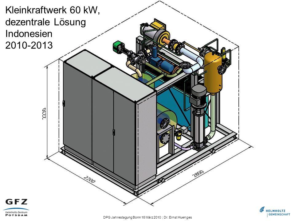 DPG Jahrestagung Bonn 16 März 2010 ; Dr. Ernst Huenges Kleinkraftwerk 60 kW, dezentrale Lösung Indonesien 2010-2013