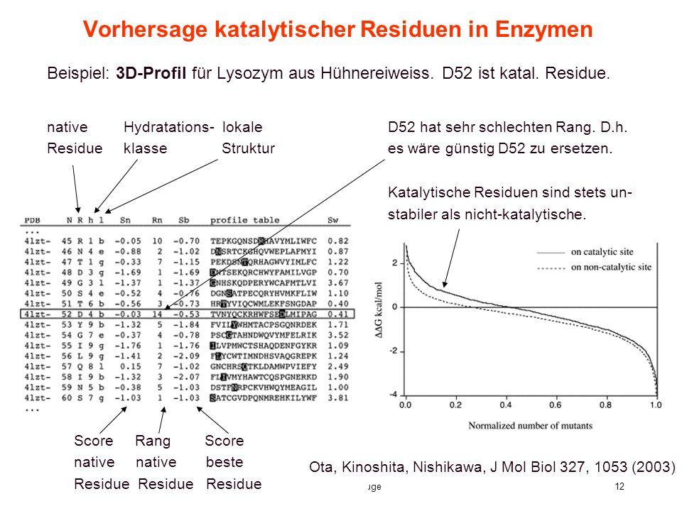 8. Vorlesung WS 2004/05Softwarewerkzeuge12 Vorhersage katalytischer Residuen in Enzymen Beispiel: 3D-Profil für Lysozym aus Hühnereiweiss. D52 ist kat