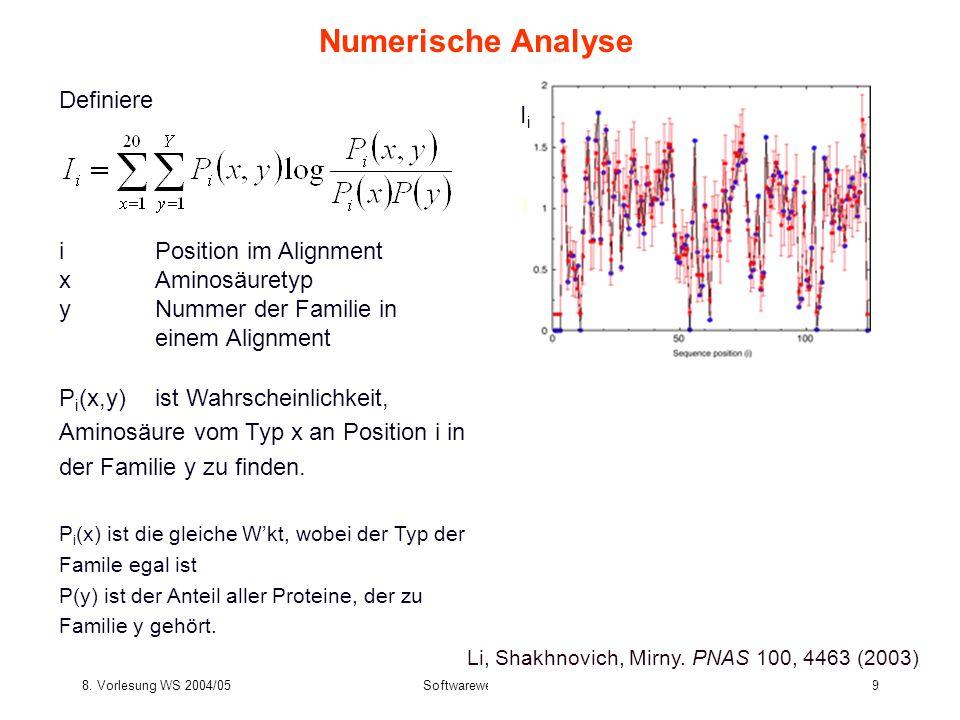 8. Vorlesung WS 2004/05Softwarewerkzeuge39 Numerische Analyse Definiere Li, Shakhnovich, Mirny. PNAS 100, 4463 (2003) iPosition im Alignment xAminosäu