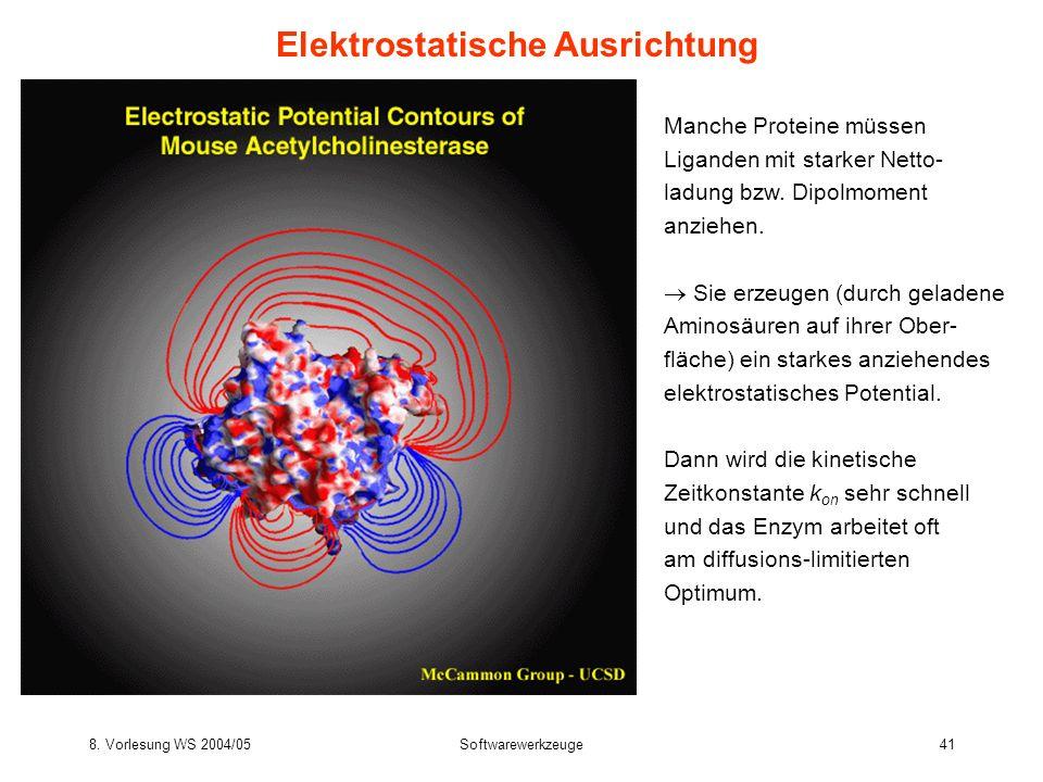 8. Vorlesung WS 2004/05Softwarewerkzeuge41 Elektrostatische Ausrichtung Manche Proteine müssen Liganden mit starker Netto- ladung bzw. Dipolmoment anz