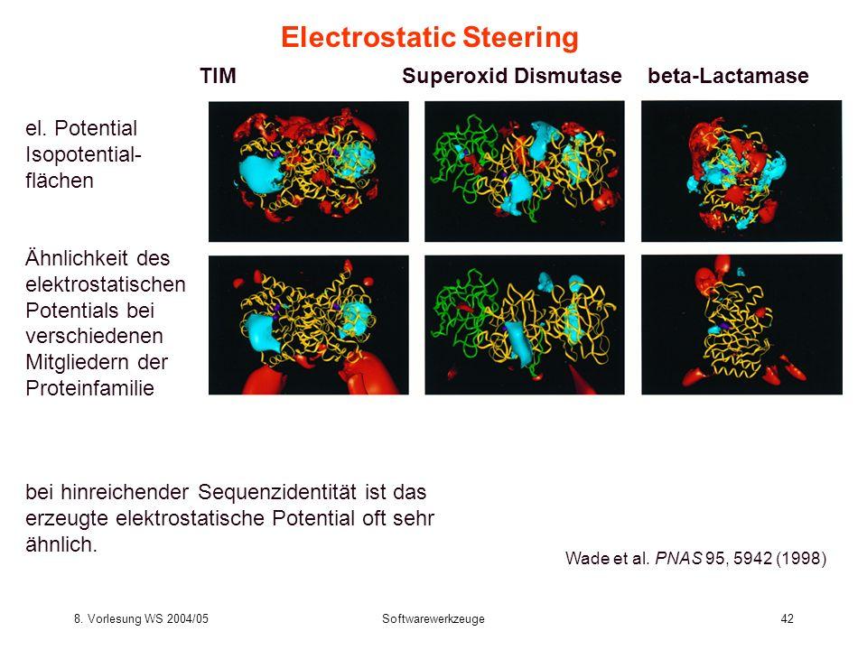 8. Vorlesung WS 2004/05Softwarewerkzeuge42 Electrostatic Steering Wade et al. PNAS 95, 5942 (1998) TIM Superoxid Dismutase beta-Lactamase el. Potentia