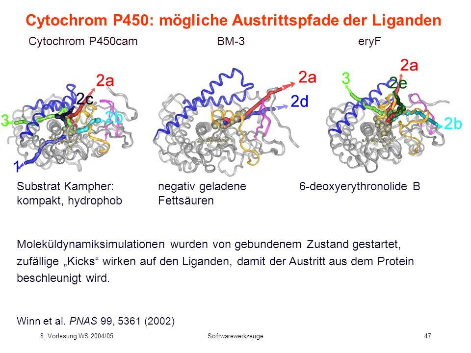 8. Vorlesung WS 2004/05Softwarewerkzeuge47 Cytochrom P450: mögliche Austrittspfade der Liganden Cytochrom P450camBM-3eryF Substrat Kampher:negativ gel
