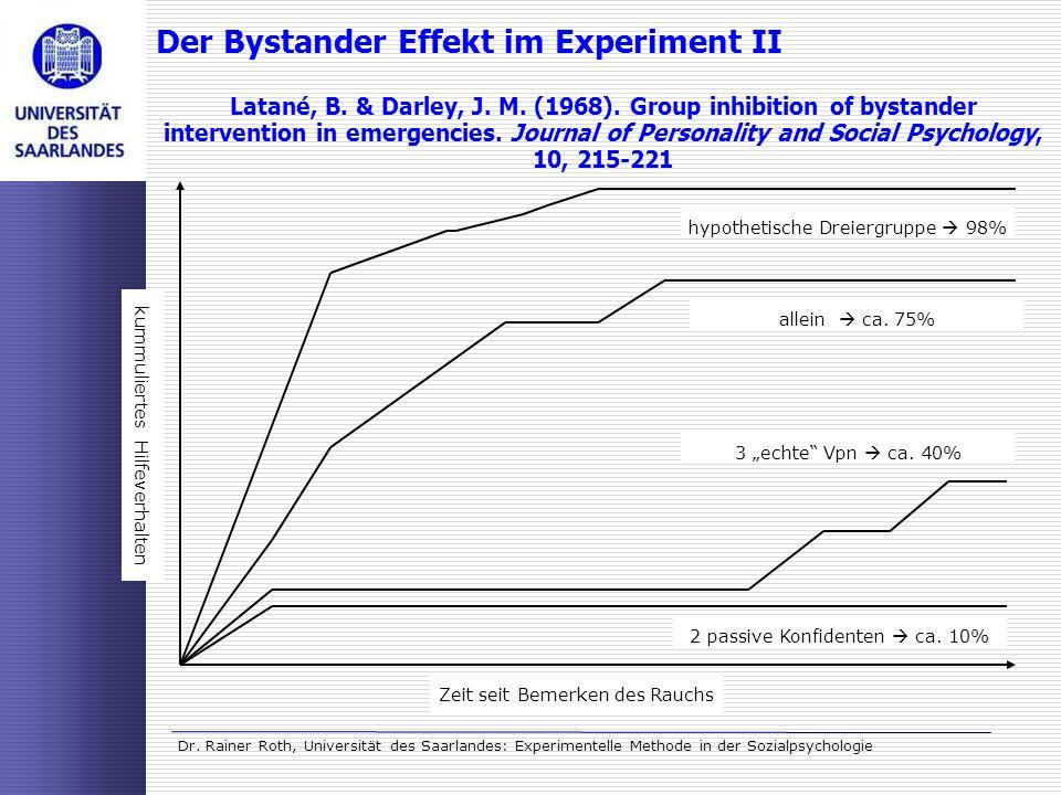 Dr. Rainer Roth, Universität des Saarlandes: Experimentelle Methode in der Sozialpsychologie Der Bystander Effekt im Experiment II Latané, B. & Darley