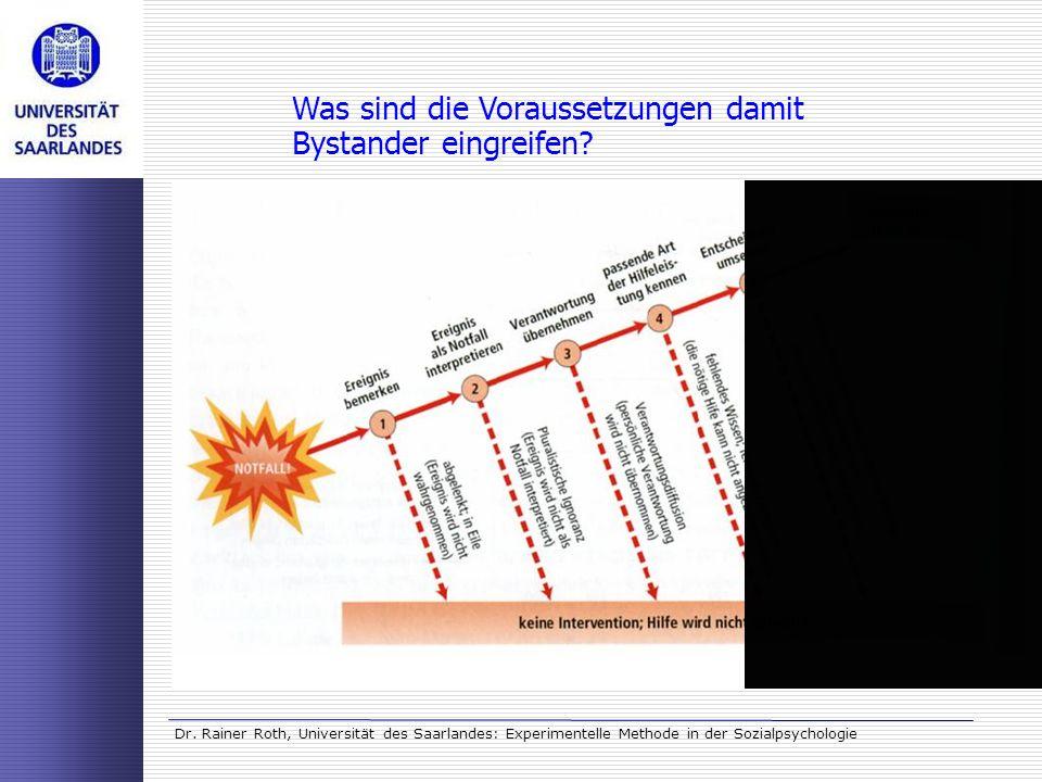 Dr. Rainer Roth, Universität des Saarlandes: Experimentelle Methode in der Sozialpsychologie Was sind die Voraussetzungen damit Bystander eingreifen?