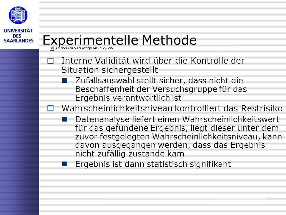 Experimentelle Methode Interne Validität wird über die Kontrolle der Situation sichergestellt Zufallsauswahl stellt sicher, dass nicht die Beschaffenh