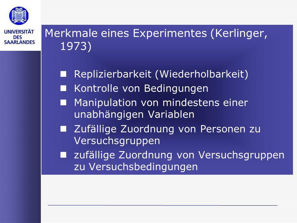 Merkmale eines Experimentes (Kerlinger, 1973) Replizierbarkeit (Wiederholbarkeit) Kontrolle von Bedingungen Manipulation von mindestens einer unabhäng