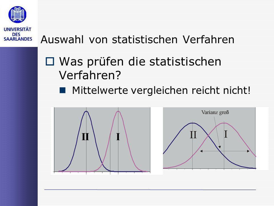 Auswahl von statistischen Verfahren Was prüfen die statistischen Verfahren? Mittelwerte vergleichen reicht nicht! III