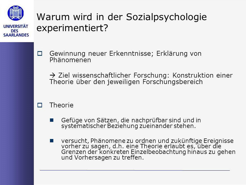 Warum wird in der Sozialpsychologie experimentiert? Gewinnung neuer Erkenntnisse; Erklärung von Phänomenen Ziel wissenschaftlicher Forschung: Konstruk