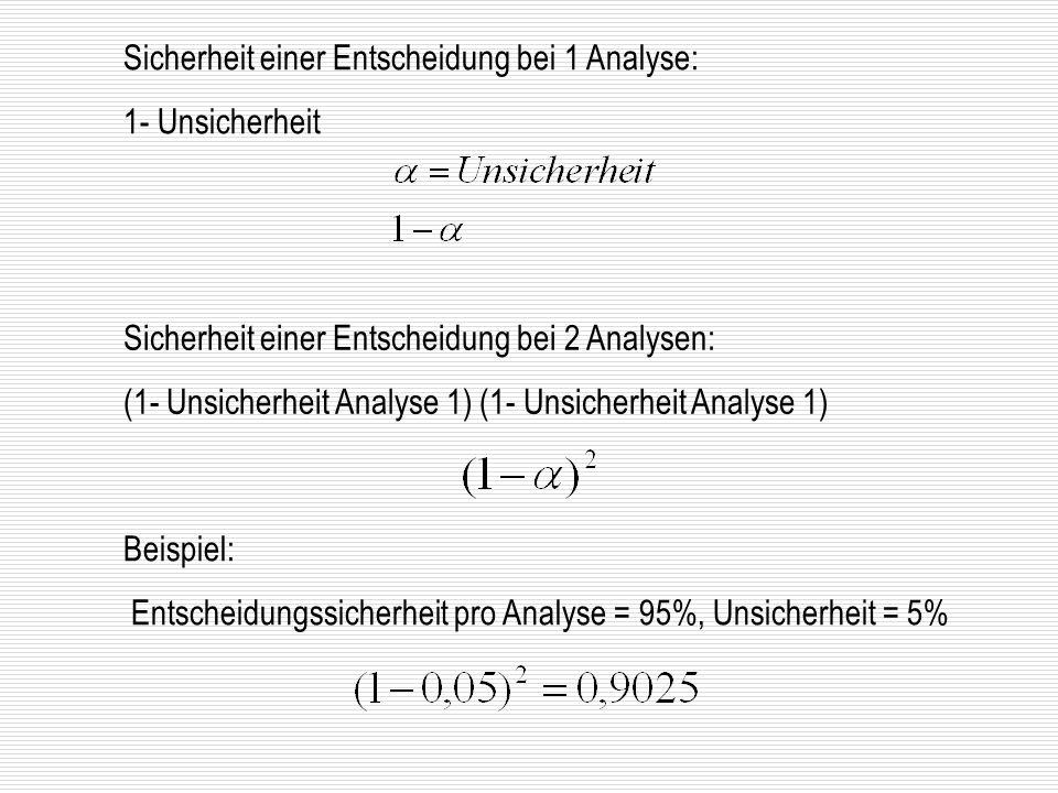 Sicherheit einer Entscheidung bei 1 Analyse: 1- Unsicherheit Sicherheit einer Entscheidung bei 2 Analysen: (1- Unsicherheit Analyse 1) Beispiel: Entsc