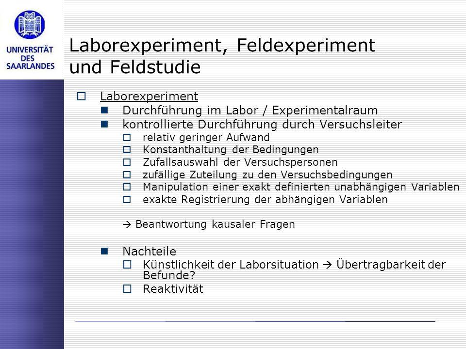 Laborexperiment, Feldexperiment und Feldstudie Laborexperiment Durchführung im Labor / Experimentalraum kontrollierte Durchführung durch Versuchsleite