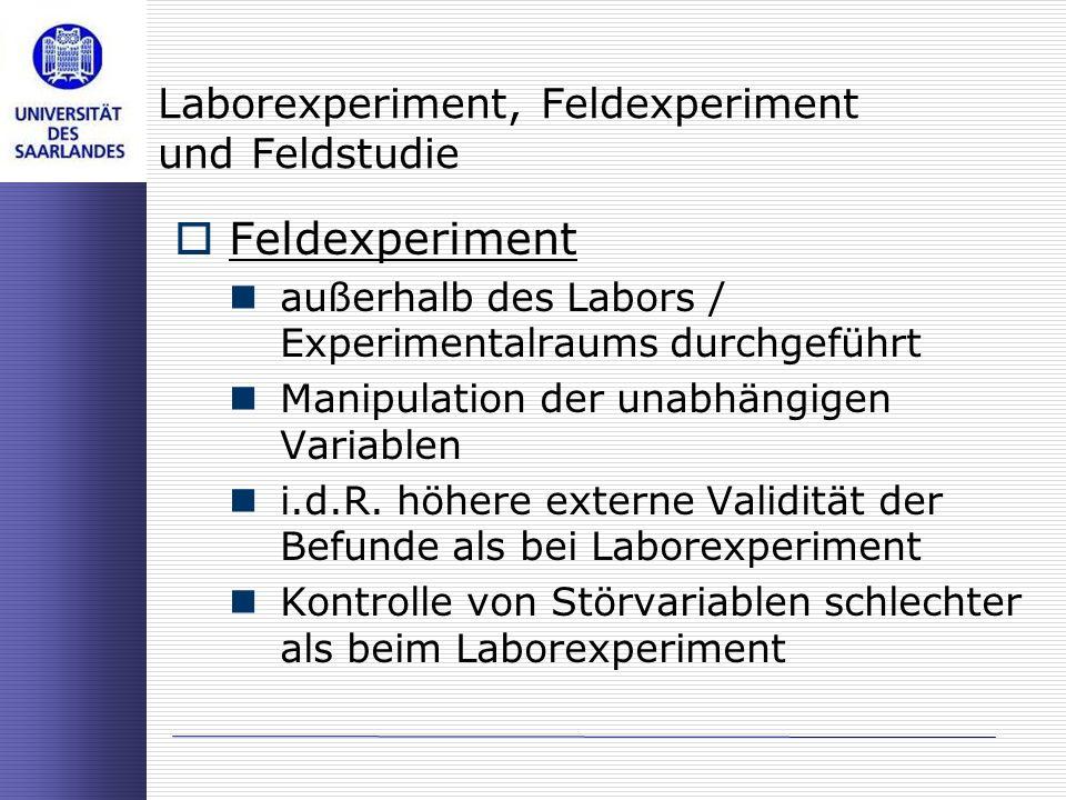 Laborexperiment, Feldexperiment und Feldstudie Feldexperiment außerhalb des Labors / Experimentalraums durchgeführt Manipulation der unabhängigen Vari