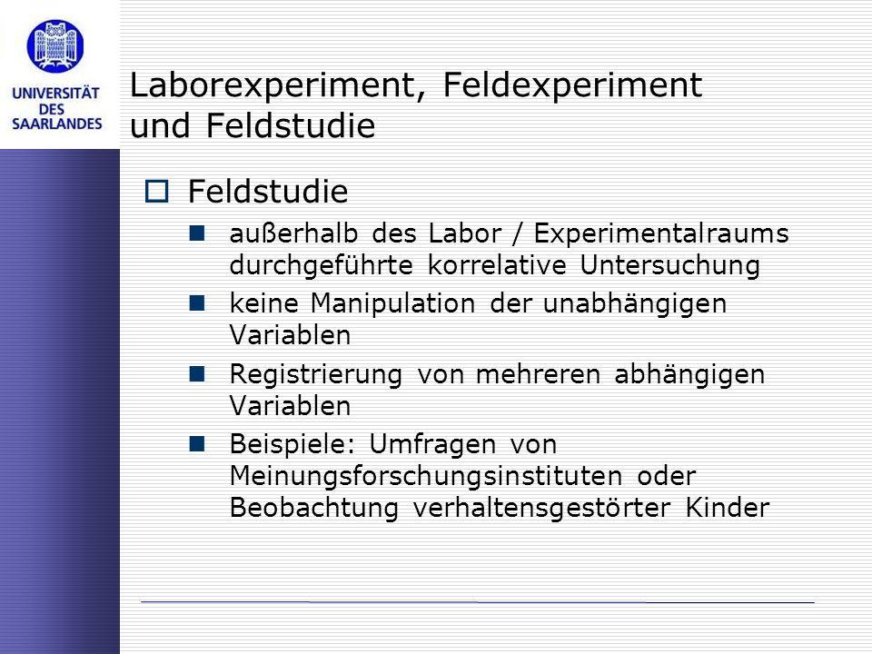 Laborexperiment, Feldexperiment und Feldstudie Feldstudie außerhalb des Labor / Experimentalraums durchgeführte korrelative Untersuchung keine Manipul
