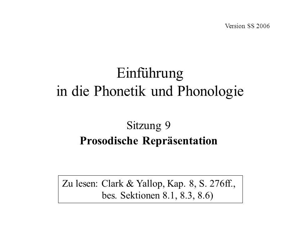 Einführung in die Phonetik und Phonologie Sitzung 9 Prosodische Repräsentation Zu lesen: Clark & Yallop, Kap. 8, S. 276ff., bes. Sektionen 8.1, 8.3, 8