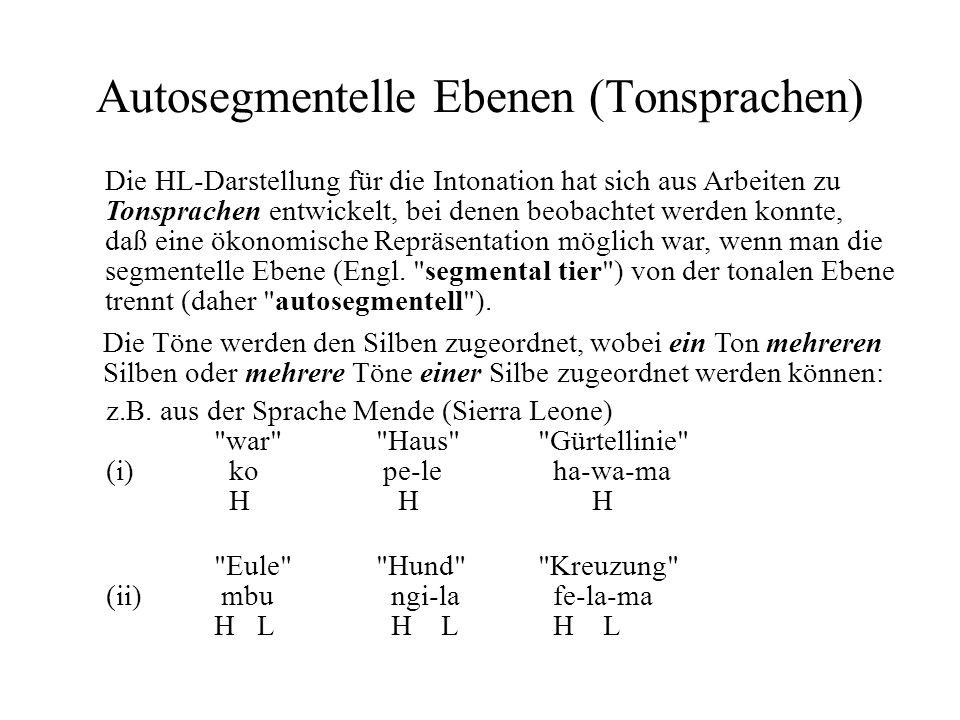 Autosegmentelle Ebenen (Tonsprachen) Die HL-Darstellung für die Intonation hat sich aus Arbeiten zu Tonsprachen entwickelt, bei denen beobachtet werde
