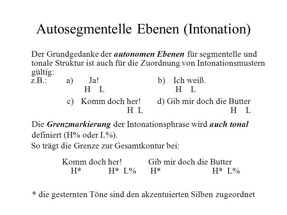 Autosegmentelle Ebenen (Intonation) Der Grundgedanke der autonomen Ebenen für segmentelle und tonale Struktur ist auch für die Zuordnung von Intonatio