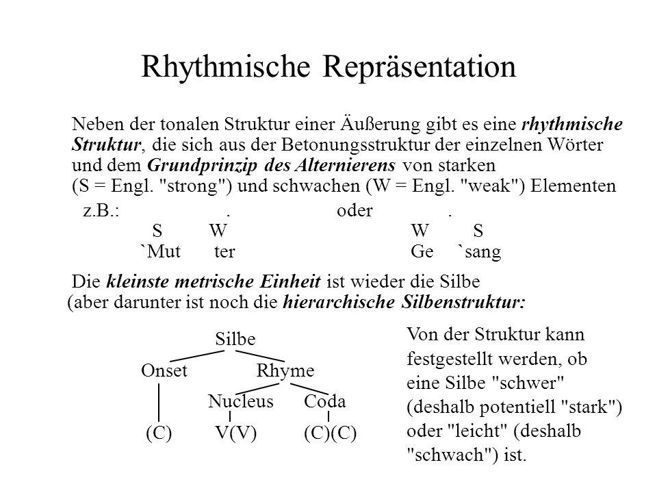 Rhythmische Repräsentation Neben der tonalen Struktur einer Äußerung gibt es eine rhythmische Struktur, die sich aus der Betonungsstruktur der einzeln