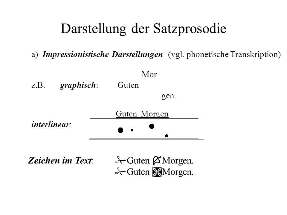 Darstellung der Satzprosodie a) Impressionistische Darstellungen (vgl. phonetische Transkription) Mor z.B.graphisch:Guten gen. ______Guten Morgen_____