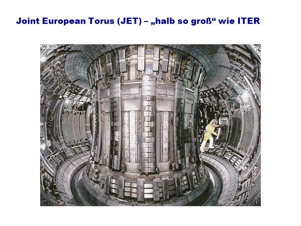 Joint European Torus (JET) – halb so groß wie ITER