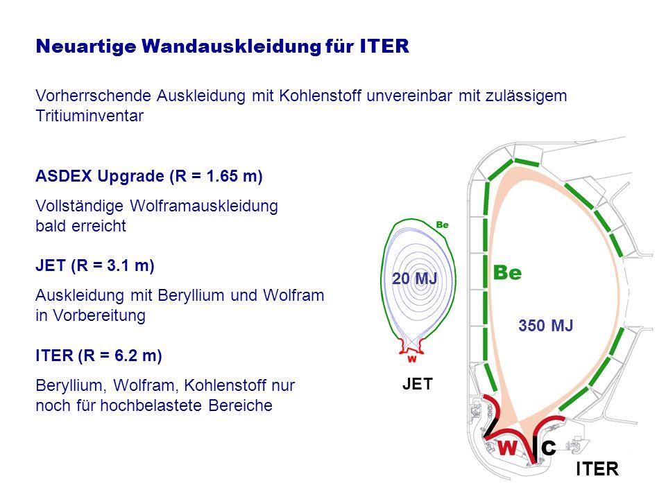 Erprobung der Wandmaterialien bereits in JET JET erstmalige Verwendung von massivem Wolfram Konstruktion und Umbau bis 2008 abgeschlossen Erprobungsphase 2008 – 2010 Richtungweisend bereits für DEMO Zerstörungstest im Tokamak TEXTOR in Jülich