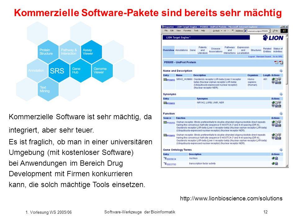1. Vorlesung WS 2005/06 Software-Werkzeuge der Bioinformatik12 http://www.lionbioscience.com/solutions Kommerzielle Software-Pakete sind bereits sehr