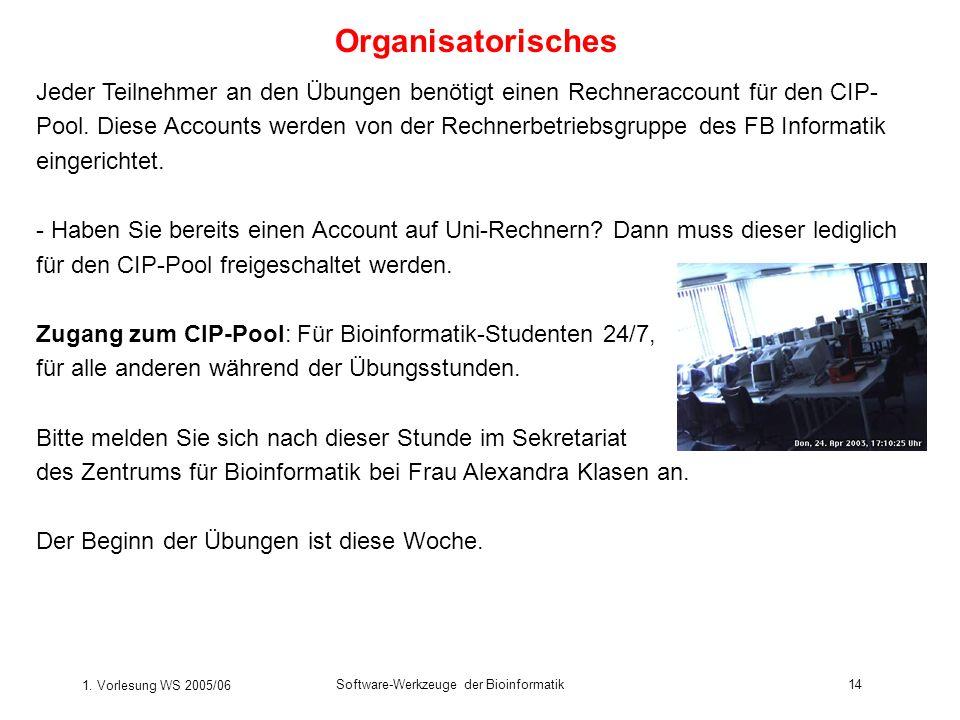 1. Vorlesung WS 2005/06 Software-Werkzeuge der Bioinformatik14 Organisatorisches Jeder Teilnehmer an den Übungen benötigt einen Rechneraccount für den