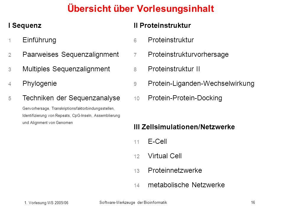 1. Vorlesung WS 2005/06 Software-Werkzeuge der Bioinformatik16 Übersicht über Vorlesungsinhalt I Sequenz 1 Einführung 2 Paarweises Sequenzalignment 3