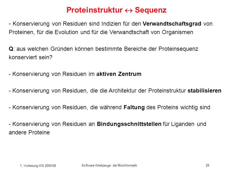 1. Vorlesung WS 2005/06 Software-Werkzeuge der Bioinformatik29 - Konservierung von Residuen sind Indizien für den Verwandtschaftsgrad von Proteinen, f
