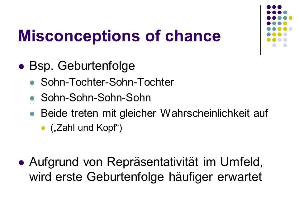 Misconceptions of chance Bsp. Geburtenfolge Sohn-Tochter-Sohn-Tochter Sohn-Sohn-Sohn-Sohn Beide treten mit gleicher Wahrscheinlichkeit auf (Zahl und K