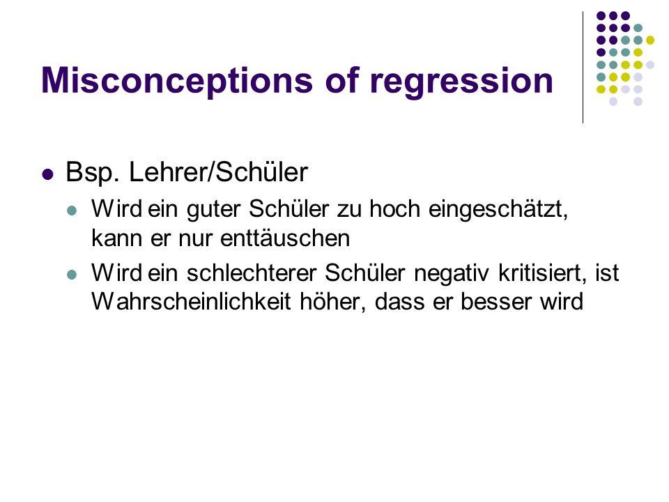 Misconceptions of regression Bsp. Lehrer/Schüler Wird ein guter Schüler zu hoch eingeschätzt, kann er nur enttäuschen Wird ein schlechterer Schüler ne