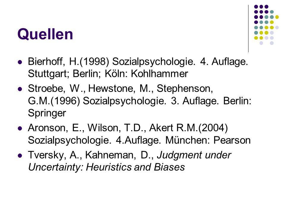 Quellen Bierhoff, H.(1998) Sozialpsychologie. 4. Auflage. Stuttgart; Berlin; Köln: Kohlhammer Stroebe, W., Hewstone, M., Stephenson, G.M.(1996) Sozial