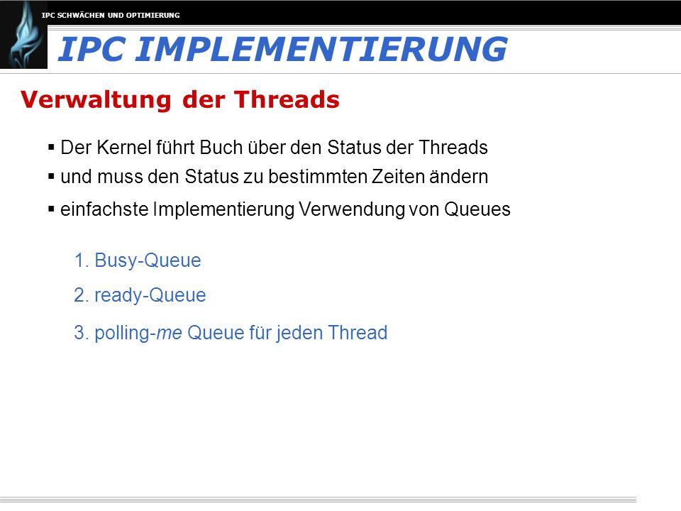 IPC SCHWÄCHEN UND OPTIMIERUNG Verwaltung der Threads Der Kernel führt Buch über den Status der Threads IPC IMPLEMENTIERUNG und muss den Status zu best