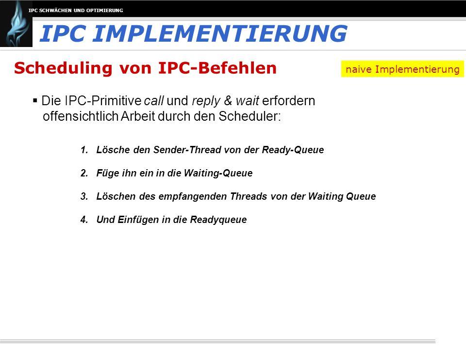 IPC SCHWÄCHEN UND OPTIMIERUNG Scheduling von IPC-Befehlen Die IPC-Primitive call und reply & wait erfordern offensichtlich Arbeit durch den Scheduler: