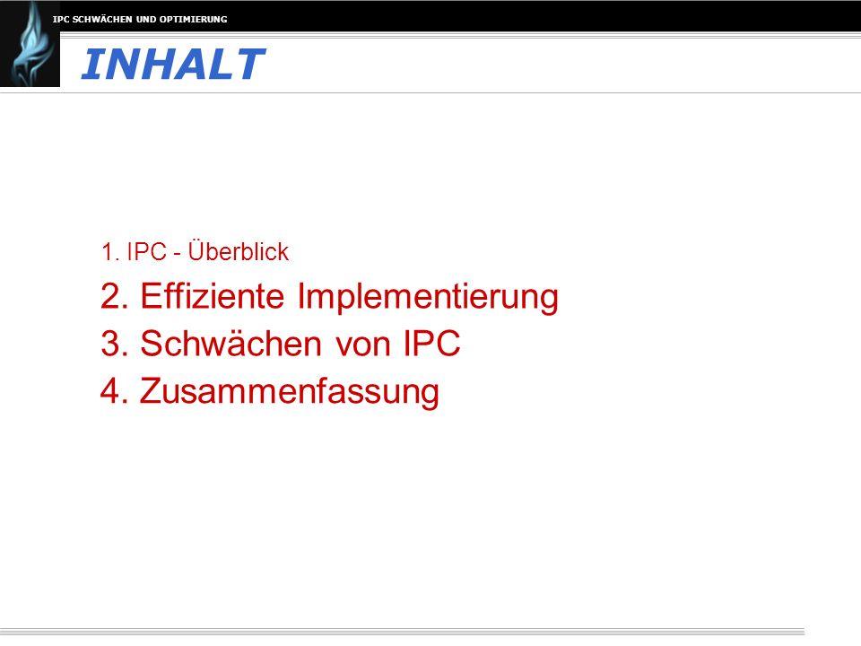 IPC SCHWÄCHEN UND OPTIMIERUNG INHALT 1. IPC - Überblick 2. Effiziente Implementierung 3. Schwächen von IPC 4. Zusammenfassung