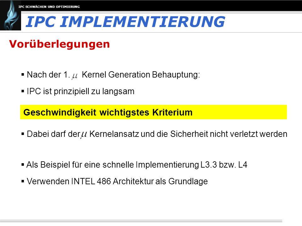IPC SCHWÄCHEN UND OPTIMIERUNG Obere Grenze für Geschwindigkeit IPC IMPLEMENTIERUNG Wo liegt tatsächlich die prinzipielle Geschwindigkeitsgrenze für IPC.