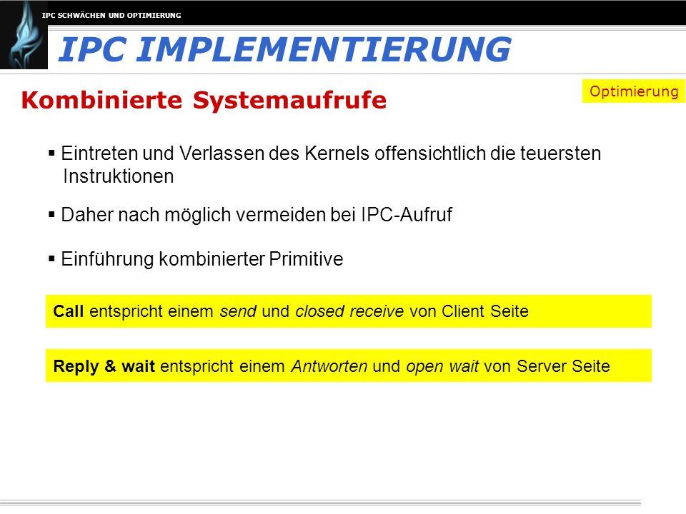 IPC SCHWÄCHEN UND OPTIMIERUNG Kombinierte Systemaufrufe Eintreten und Verlassen des Kernels offensichtlich die teuersten Instruktionen IPC IMPLEMENTIE